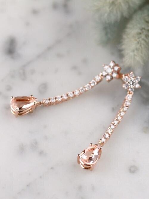 Teardrop Morganite and Diamond Solid 14 Karat Gold Chandelier Earrings