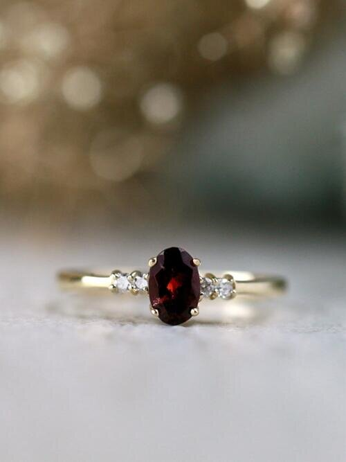 6x4MM Oval Garnet and Diamond Solid 14 Karat Gold Petite Ring