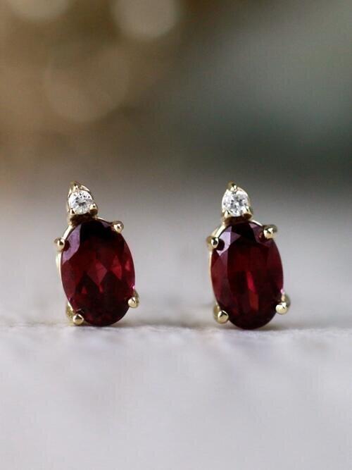6x4MM Garnet and Diamond Solid 14 Karat Gold Stud Earrings