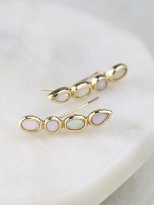 Natural Australian Opal Mixed-Shape Solid 14 Karat Gold Climber Earrings