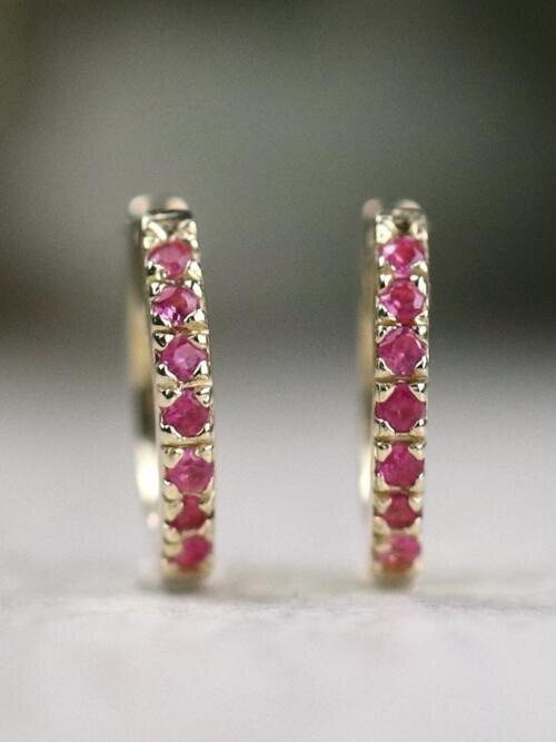 Natural Pink Sapphire Baby Solid 14 K Gold Hoop Earrings