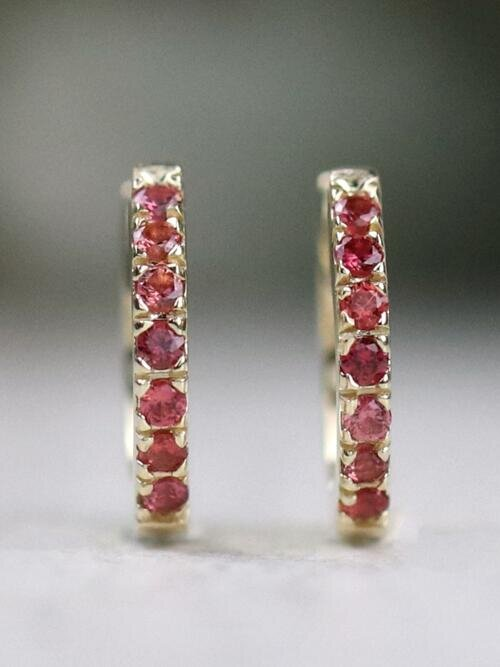 Pink Padparadscha Sapphire Solid 14 K Gold Hoop Earrings