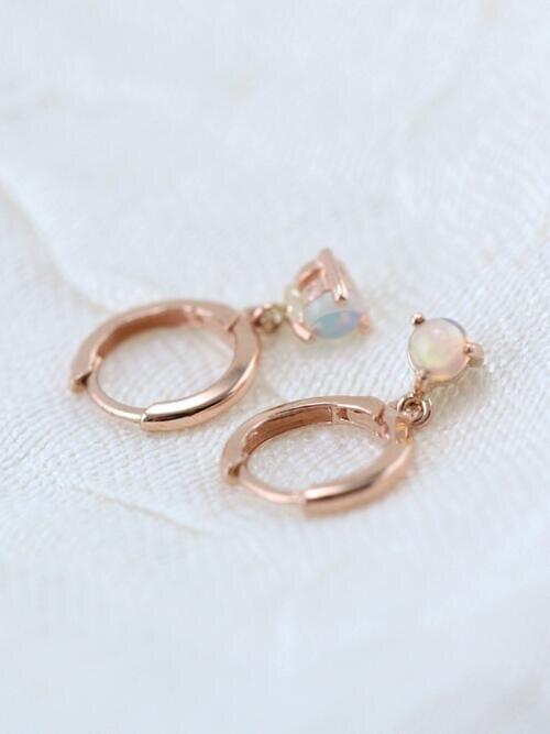 Opal Drop Solid 14k Gold Huggie Earrings