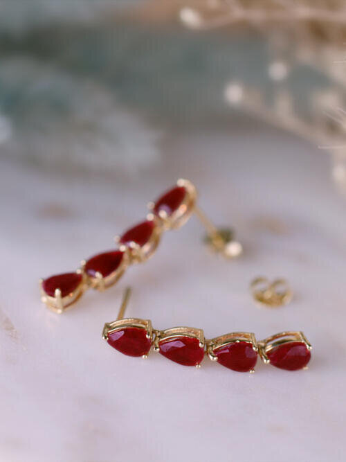 6x4MM Ruby Tear Drop Dangle <Prong> Solid 14K Yellow Gold (14KY) Colored Stone Earrings