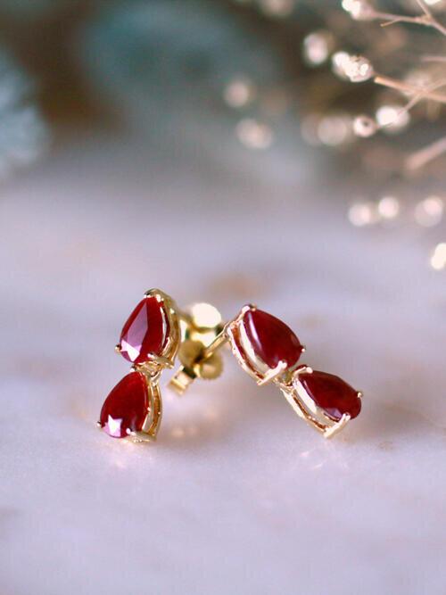 6X4MM Petite Ruby Teardrop Solid 14 Karat Gold Dangle Earrings