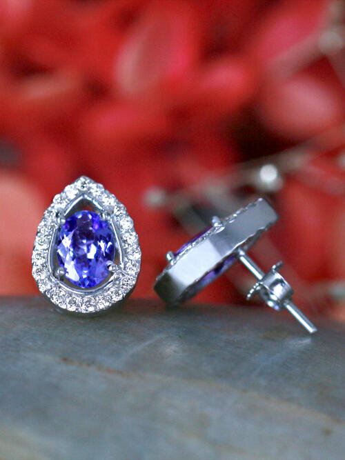 Tanzanite and Diamond Halo Teardrop Stud <Prong> Solid 14K White Gold (14KW) Colored Stone Earrings