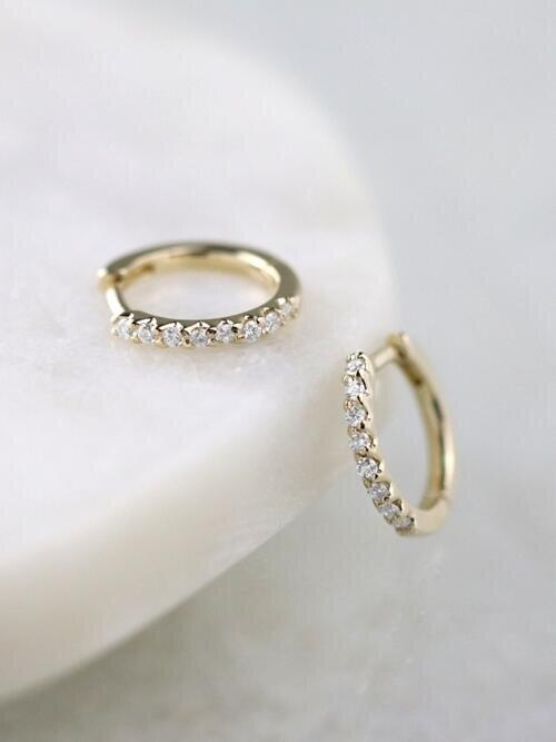 12.5MM Diamond Hoop <Prong> Solid 14K Rose Gold (14KR) Minimalist Huggie Earrings