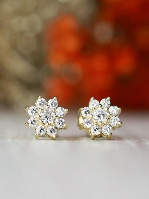 8x8MM Diamond Cluster Halo Floral Solid 14 Karat Gold Stud Earrings