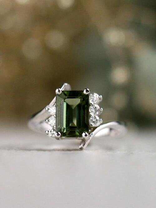 Emerald Cut Green Tourmaline with Diamond Solid 14 Karat Gold Ring
