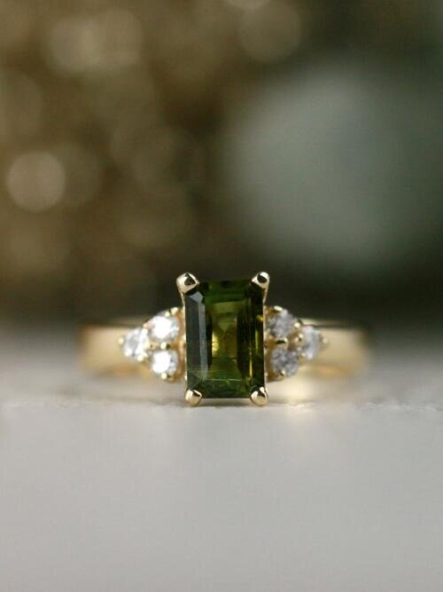 Olive Green Tourmaline and Diamond Engagement Solid 14 Karat Gold Ring