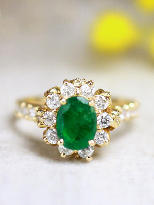 1.40CT Natural Emerald and Diamond Halo with Floral Basket Solid 14 Karat Gold Engagement Ring