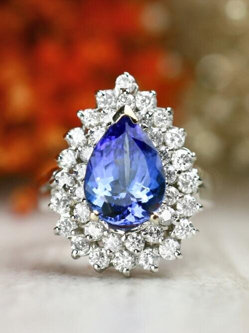 Pear-Shaped Natural Tanzanite Double Halo Diamond Solid 14 Karat Gold Cocktail Ring