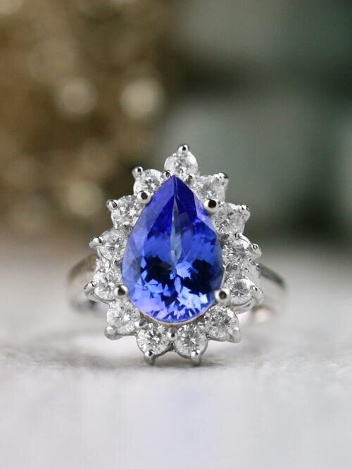 ONE-OF-A-KIND: Tanzanite and Diamond Halo Engagement  Solid 14K White Gold (14KW) Estate Ring