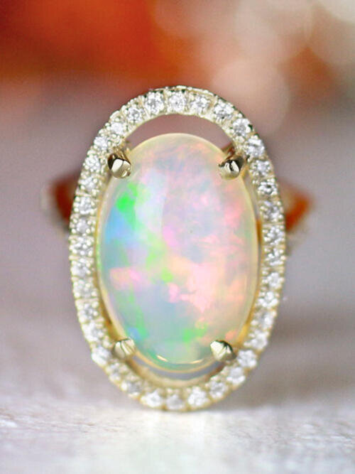Opal Floating Diamond Halo Solid 14 Karat Gold Cocktail Ring