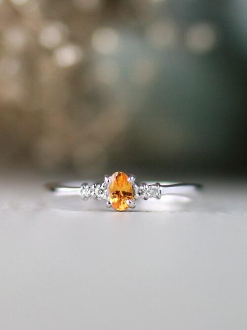 5x3MM Mandarin Garnet and Diamond Engagement <Prong> Solid 14K Yellow Gold (14KY) Colored Stone Wedding Ring