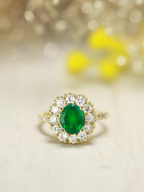 ONE-OF-A-KIND: Emerald and Diamond Engagement <Prong> Solid 14K Yellow Gold (14KY) Colored Stone Estate Ring