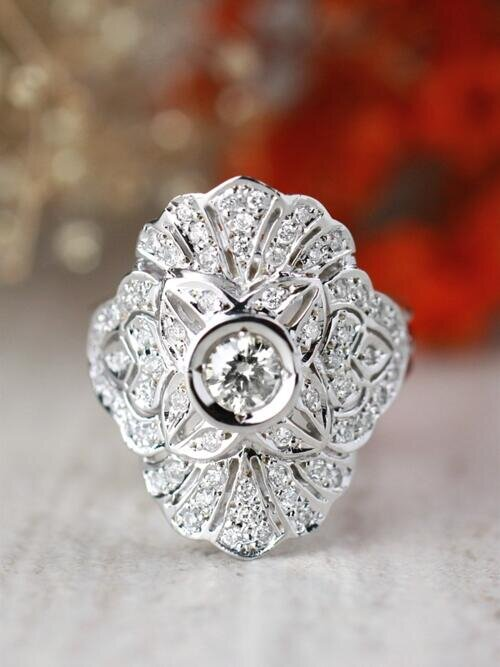 Diamond Cluster Cocktail <Bezel/Pave> Solid 14K Yellow Gold (14KY) Art Deco Estate Ring