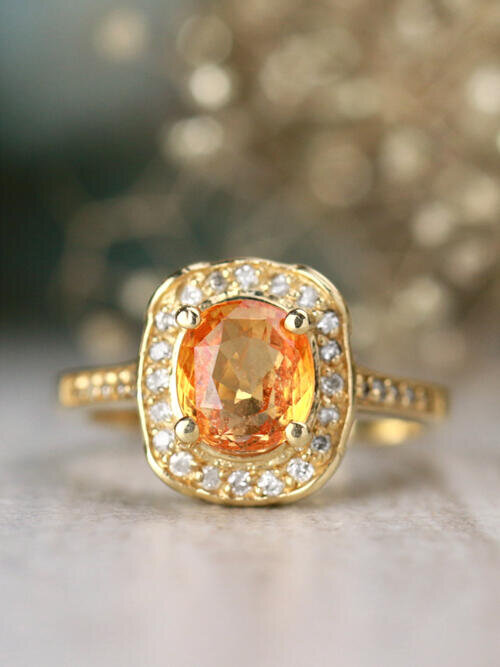 ONE-OF-A-KIND: Orange Sapphire and Diamond Engagement <Prong/Pave> Solid 14K Yellow Gold (14KY) Estate Ring