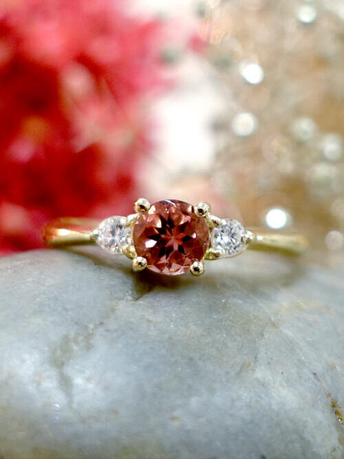 5x5MM Pink Tourmaline and Diamond Engagement <Prong> Solid 14K Rose Gold (14KR) Colored Stone Wedding Ring