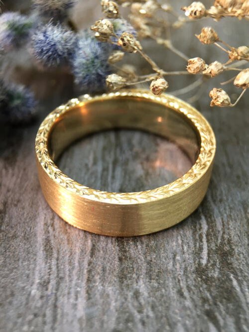 6MM Satin Finish with Filigree Sides Wedding Band Solid 14K Yellow Gold (14KY) Men's Engagement Ring