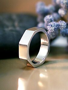 Geometric Men S Wedding Band Solid 14k Gold Nut Bolt 6mm Ring Unique Fine Jewelry Free Shipping