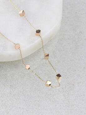 Gold Cube by the Yard Geometric Chain