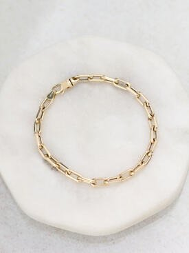 4.3x9.3mm Square Link Solid 14K Gold Chain