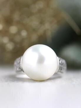 13.5MM South Sea Pearl Diamond Solid 14 Karat Gold Cocktail Ring