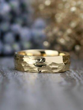 6MM Substantial Hammered Solid 14 Karat Gold Men's Wedding Band