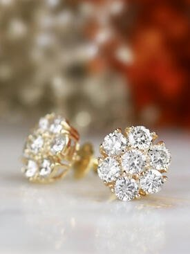 2.35CT Natural Diamond Large Cluster Solid 18 Karat Gold Earrings with Screw Back