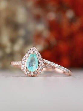 SET: Pear-Shaped Peruvian Opal + 1.5MM Diamond Solid 14 Karat Gold Ring