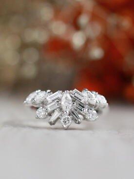 Fancy Diamond Solid 14 Karat Gold Matching Cocktail Ring Guard Band