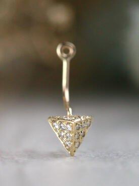 Floating Diamond Solid 14 Karat Gold Pyramid Earring