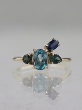 Blue Serenity Cluster Ring