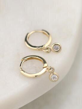 Petite Diamond Bezel Shaky Solid 14K Gold Huggie Earrings