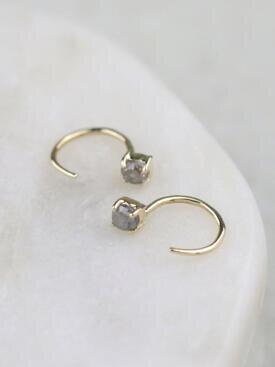 Grey Rough Diamond Solid 14 Karat Gold Open Huggie Earrings