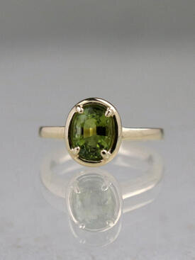 8x6MM Peridot Dome Solitaire Ring