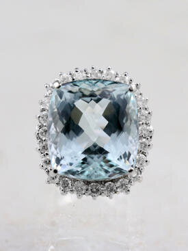40.41CT Aquamarine Diamond Halo Solid 14K Gold Cocktail Ring