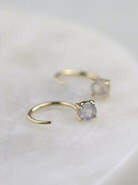 Round Rainbow Moonstone Solid 14K Gold Open Huggie Earrings