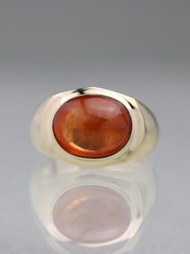 12x8mm Natural Mandarin Garnet Solid 14K Gold Signet Ring