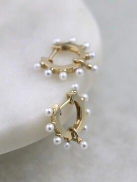 Baby Pearl Studded Solid 14 Karat Gold Hoop Earrings