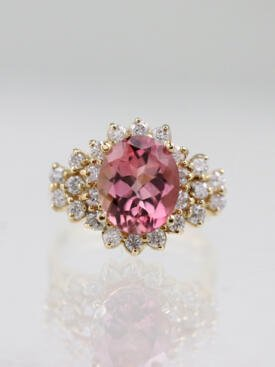 3.72ct Coral Pink Tourmaline Diamond 14K Gold Cluster Ring
