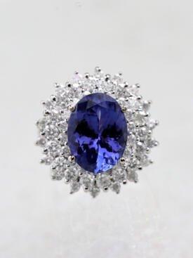 5.47ct Natural Tanzanite Trio Diamond Halo 14K Cocktail Ring