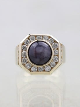 7.2ct Star Sapphire Channel Set Solid 14K Gold Men's Ring