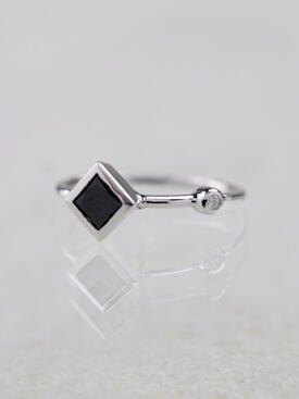 Princess Cut Black Diamond 14 Karat Gold Stackable Ring