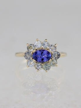 Tanzanite and Tourmaline Halo Blue Dream Ring