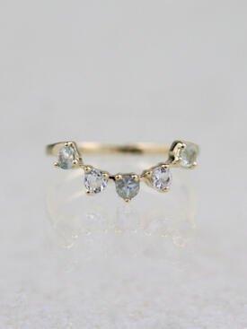 Curved Tourmaline Crown Solid 14 Karat Gold Ring
