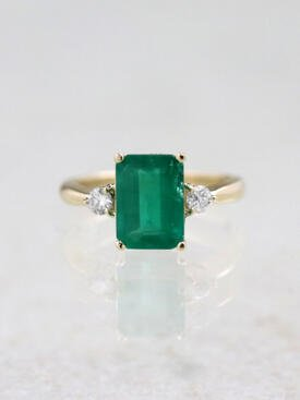 10x8MM Natural Emerald Three Stone 14 Karat Gold Cocktail Ring