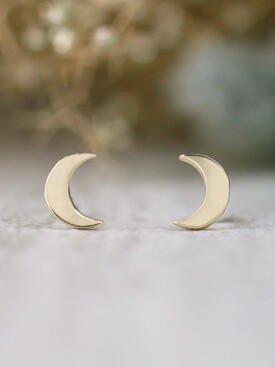 Crescent Moon Solid 14 Karat Gold Earrings