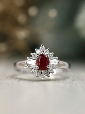 Natural Ruby Round and Baguette Diamond Ballenia Solid 14 Karat Gold Engagement Ring